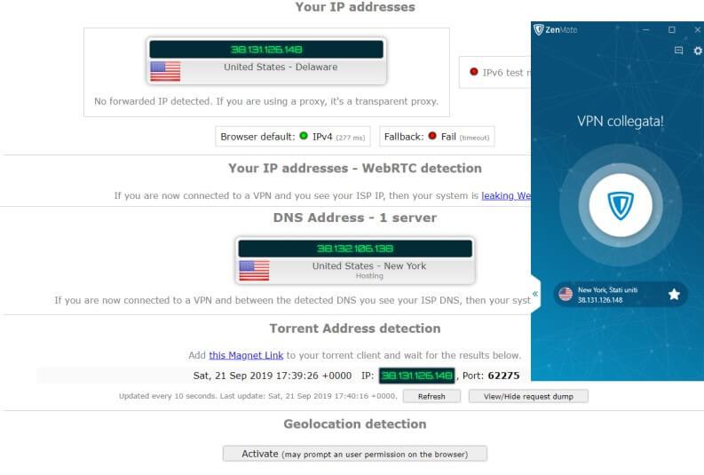 ZenMate VPN: Ipleak