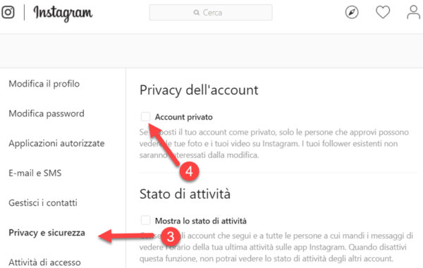 Account privato instagram Web