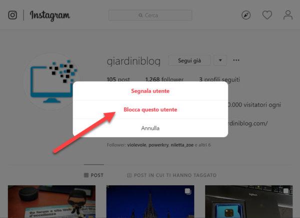 blocca contatto instagram web