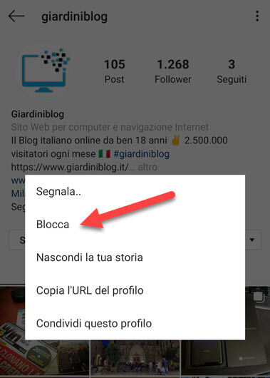 bloccare contatto instagram android ios