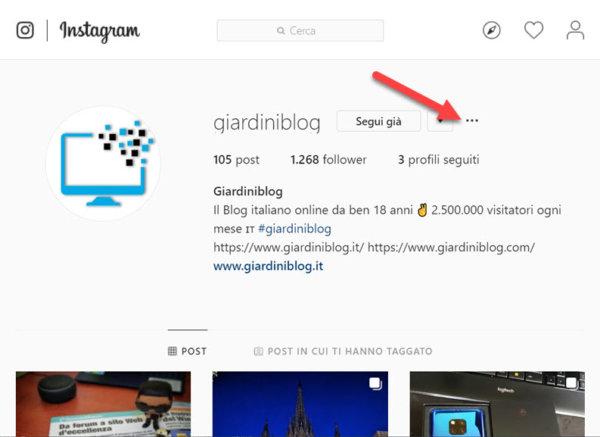 bloccare contatto instagram web menu