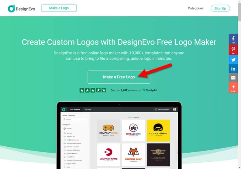 designevo homepage make a free logo