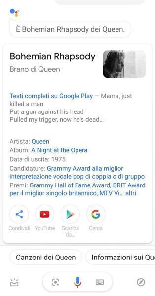 google assistente riconoscimento canzone