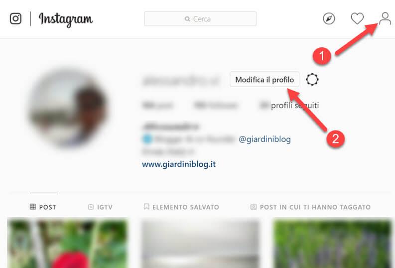 modifica profilo instagram web