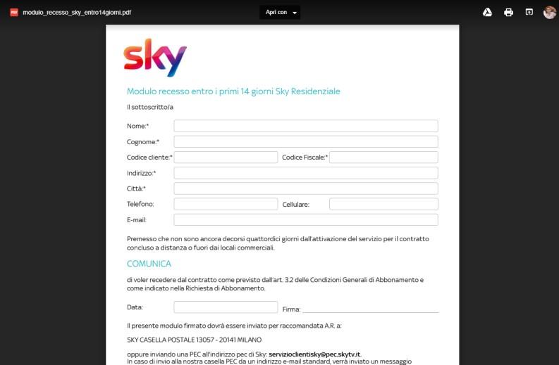 Come disdire Sky: recesso