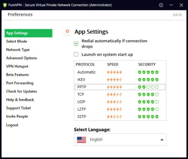 Preferenze per app PureVPN