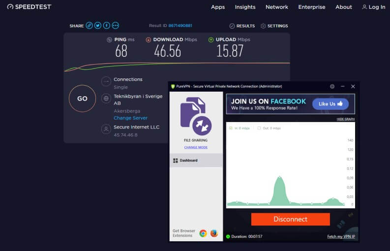 PureVPN speed test