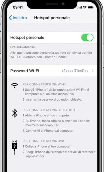 Attivare Hotspot su iPhone