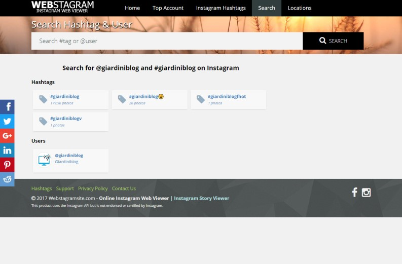 usare Webstagram