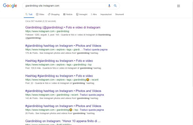 vedere profilo Instagram usando Google