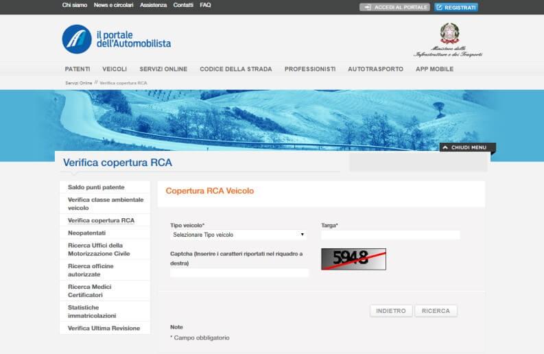 controllare copertura RCA