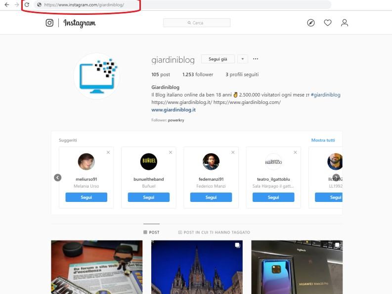 instagram accedi senza account tramite URL