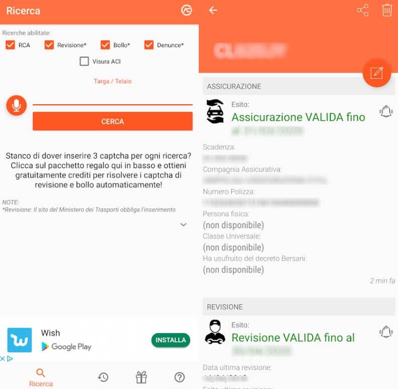Scanner veicoli comoda app Android