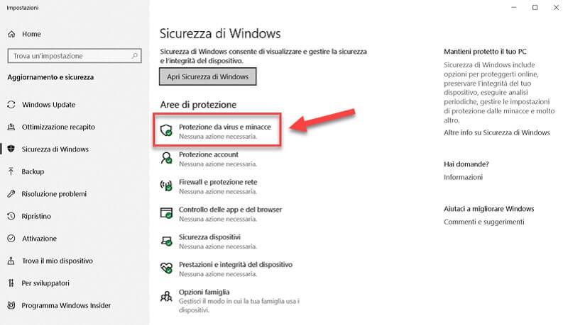 sicurezza di windows