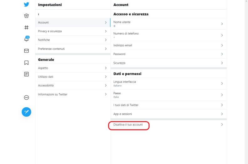 Eliminare account twitter desktop