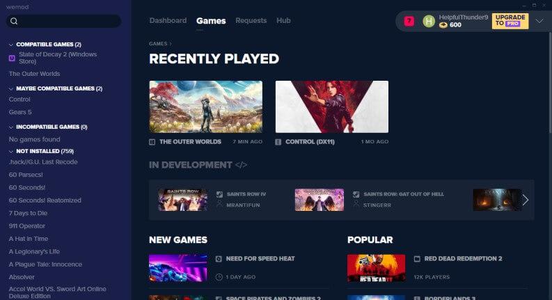 Sezione games dell'app Wemod