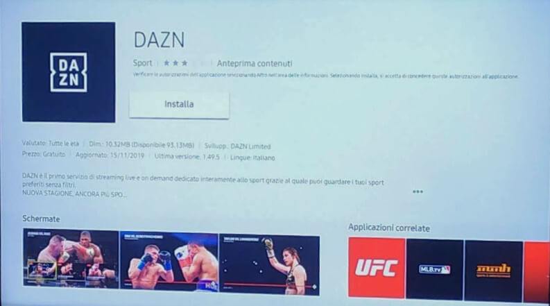 DAZN su Smart TV Samsung