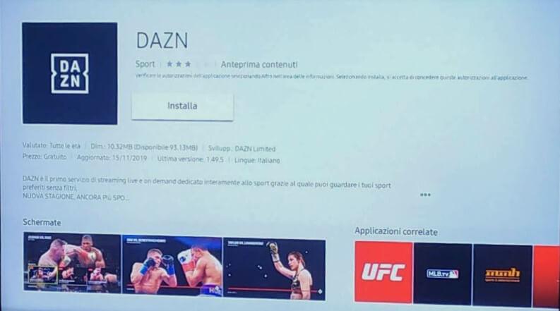 DAZN su Smart TV Samsung