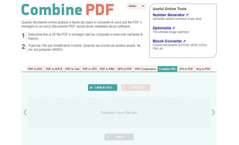 Unire PDF con Combine PDF