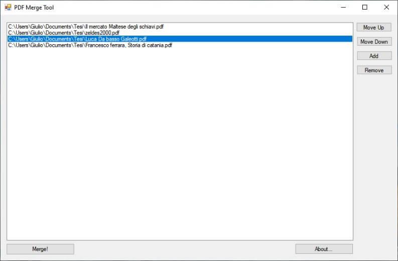 Unire PDF su Windows con MergeTool