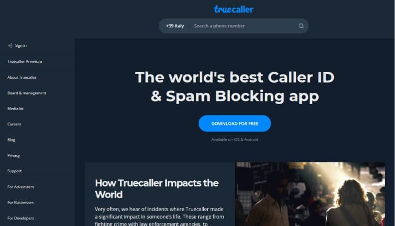 Truecaller filtro contro chiamate moleste