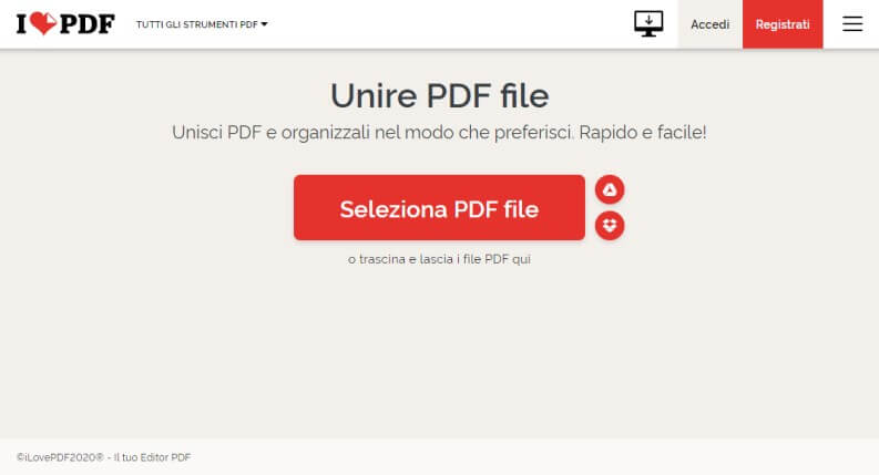 Unire PDF con iLovePDF