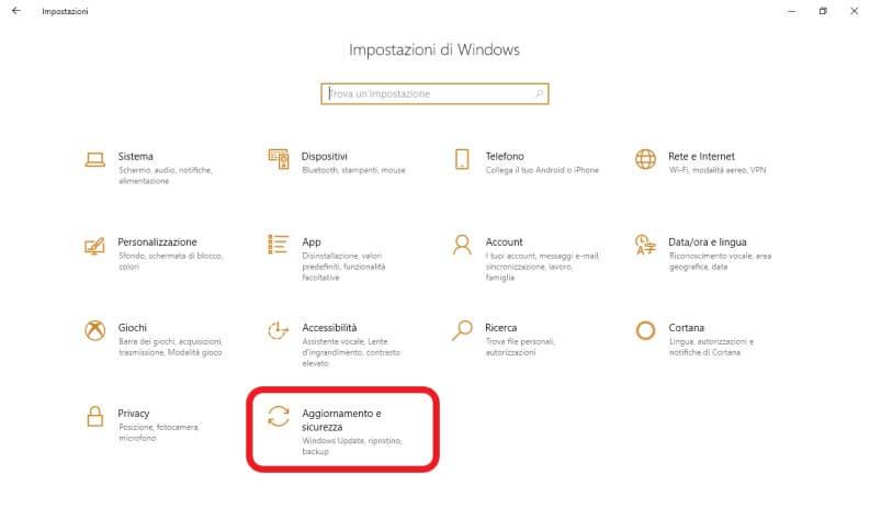 entrare nelle impostazioni di Windows 10