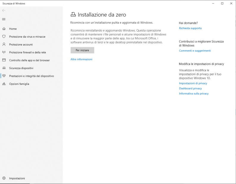 Installazione da zero windows 10
