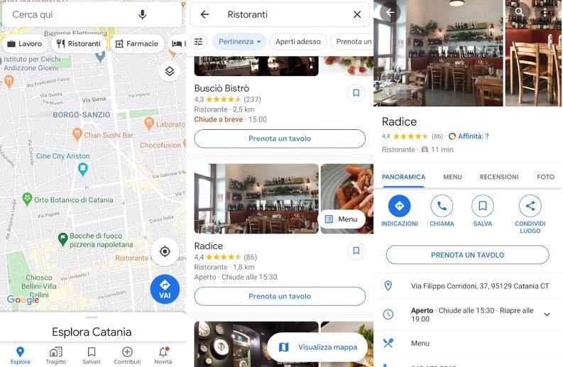 trovare ristoranti su Google Maps