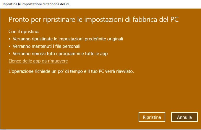 reimposta pc Windows 10
