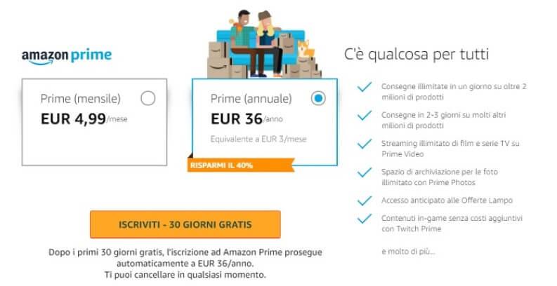 Costo di Amazon Prime e quindi anche di Prime Video