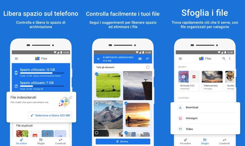 Liberare spazio smartphone android Google File
