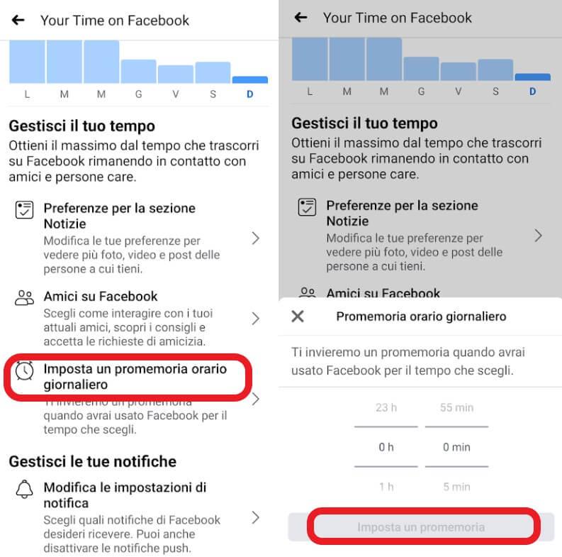 Limita il tempo trascorso su Facebook: imposta un promemoria