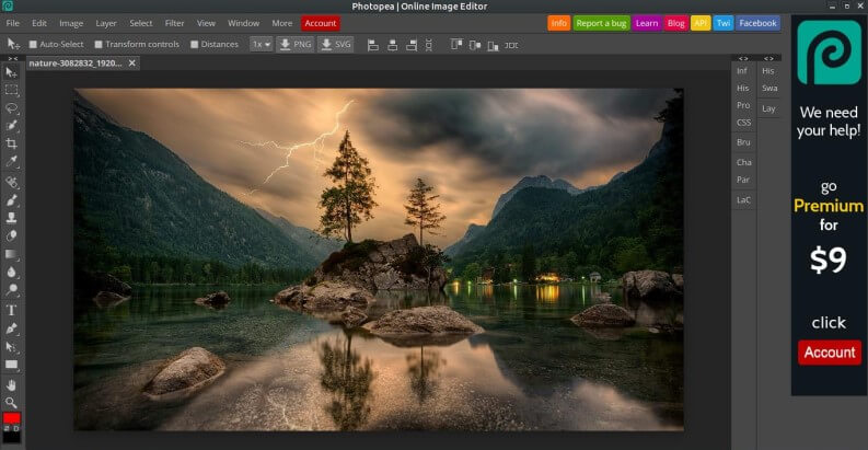 Alternative a Photoshop gratis: PhotoPea