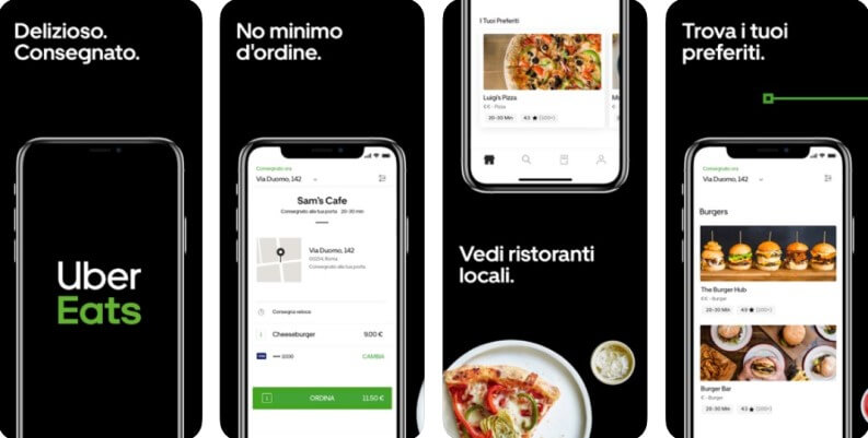 ordinare cibo a casa Uber Eats
