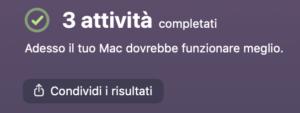 Attivita completate CleanMyMac X
