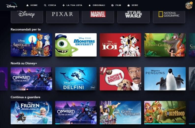 Catalogo USA di Disney Plus