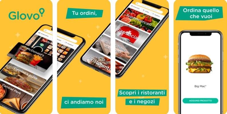 ordinare cibo online Glovo