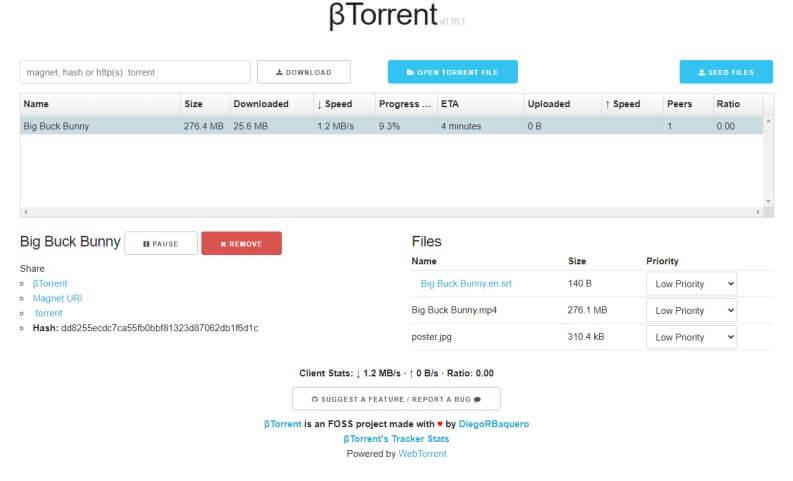 Scaricare Torrent con βTorrent