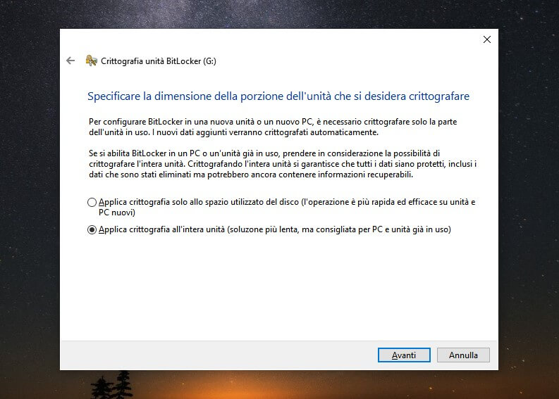 chiavetta usb con password e crittografia bitlocker