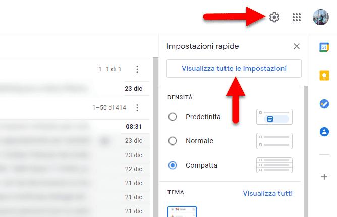 gmail visualizza tutte le impostazioni