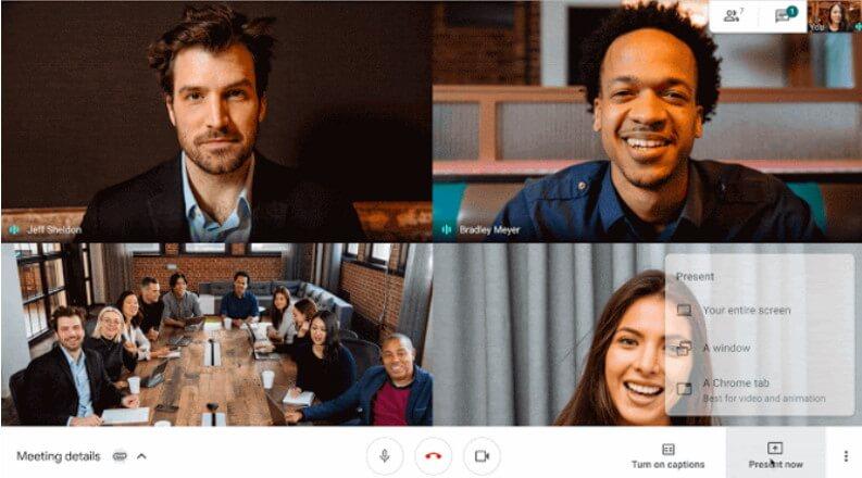 L'interfaccia di Google Meet