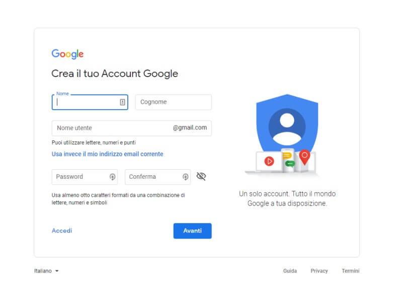 Creare account Google su Web