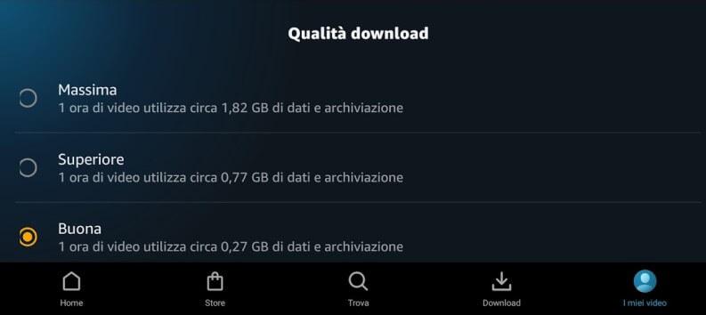 Qualità download su Prime Video