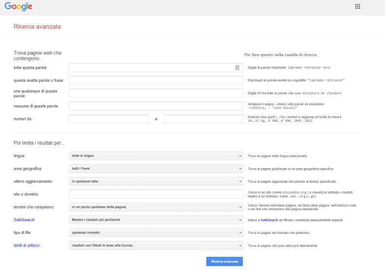 Usare la pagina di ricerca avanzata di Google
