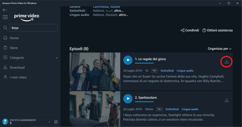 Scaricare un film o una serie su Amazon Prime Video su Windows