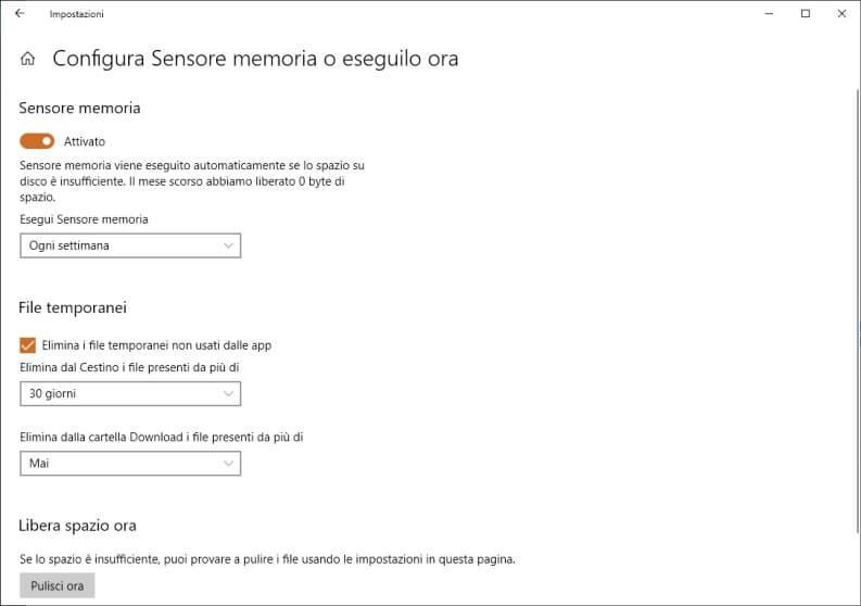 Sensore di memoria Windows 10