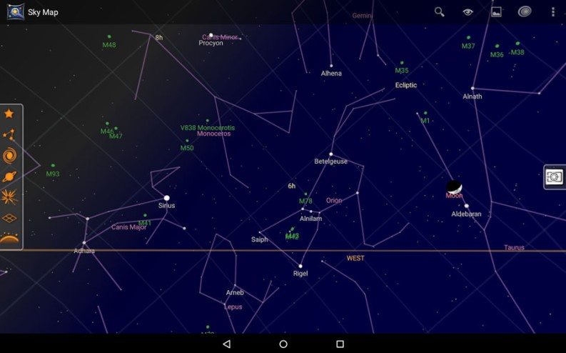 App astronomia: Sky Map