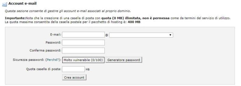 account email personalizzato