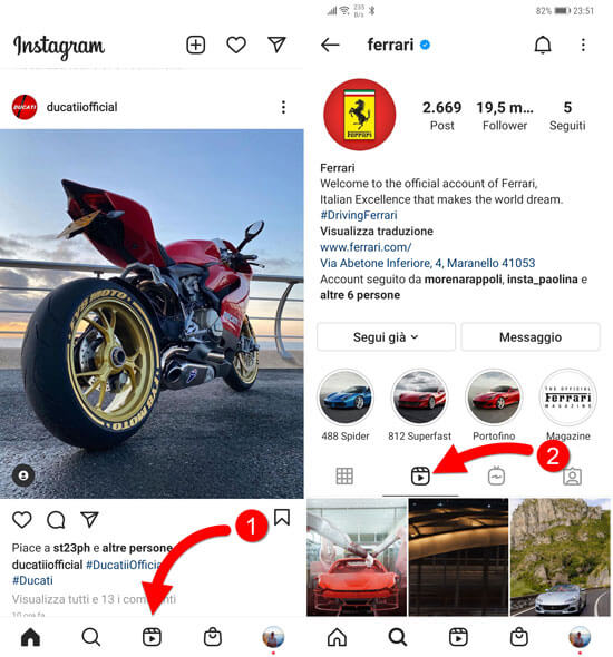 dove come vedere reels instagram
